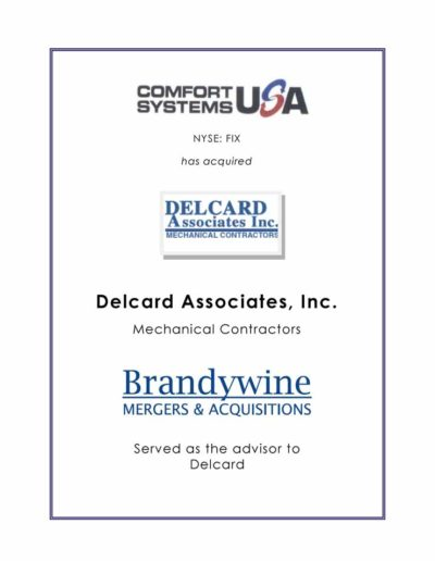 Comfort Systems USA acquires DELCARD Associates Inc.
