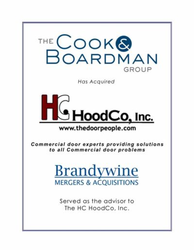 The Cook & Boardman Group acquires HC HoodCo, Inc.